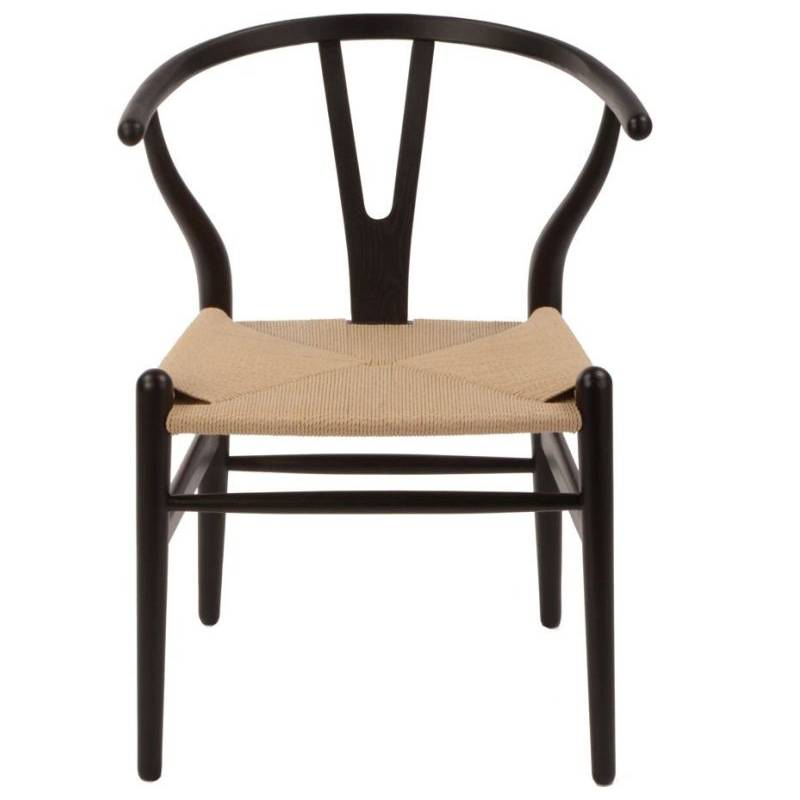vintage replica hans wegner wishbone chair in black buy dining chairs 180790. Black Bedroom Furniture Sets. Home Design Ideas