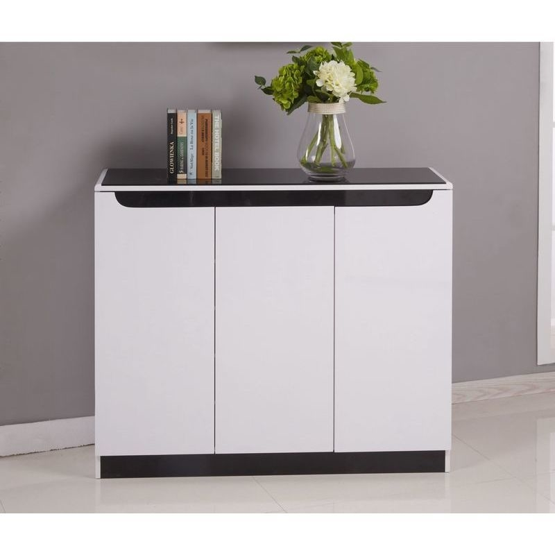 Maestro 3 Door Shoe Cabinet W Glass Top White Gloss Buy