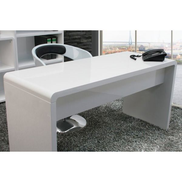 Lumiere Curved Home Office Desk In High Gloss White Buy