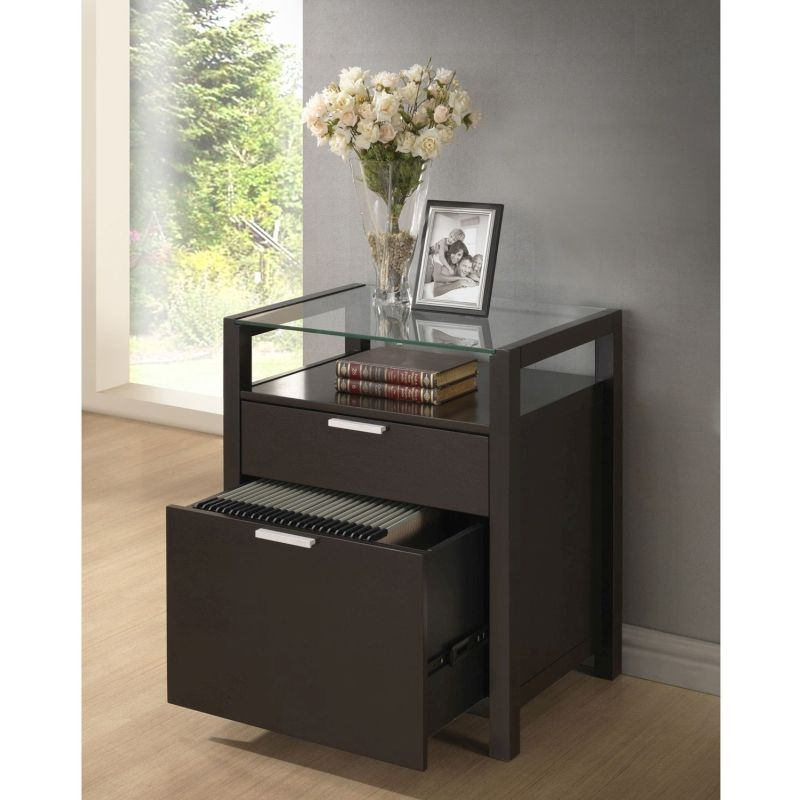 Molti Glass Top Side Table Filing Cabinet In Brown Buy Filing