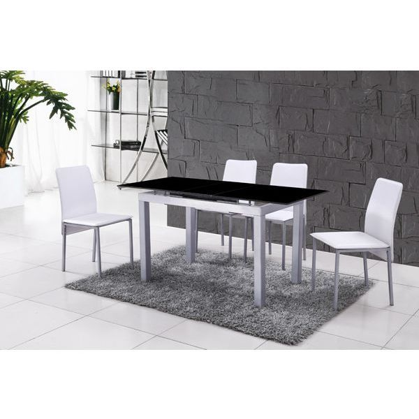 Plateau extendable glass dining table in black buy furniture for Plateau table extensible