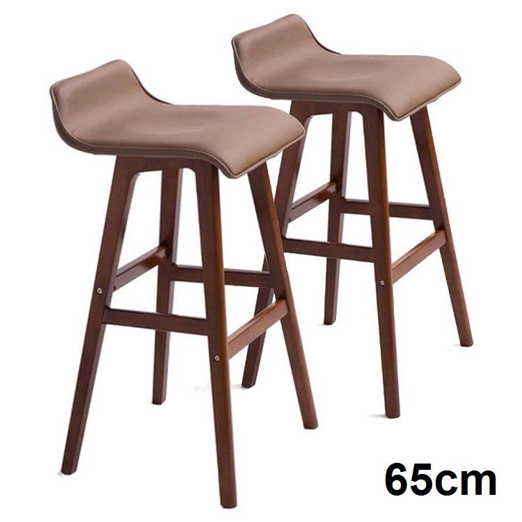 2x S Curve Pu Leather Wooden Bar Stool Brown 65cm Buy