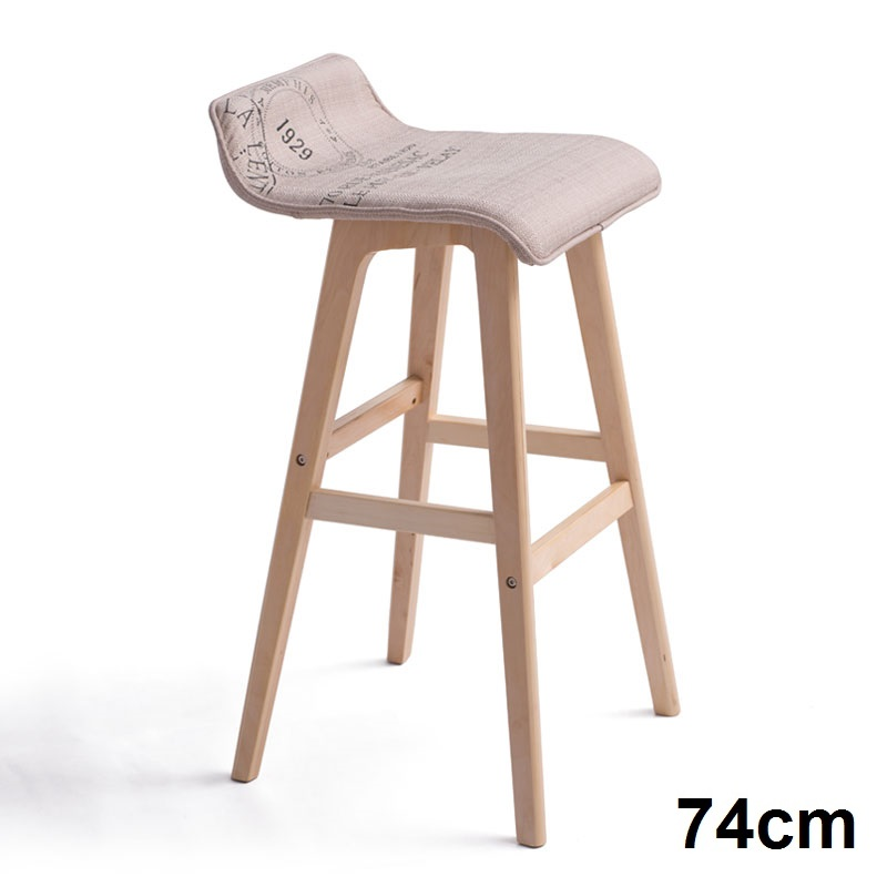 2x S Curve Fabric Wooden Bar Stool In Stamp 74cm Buy