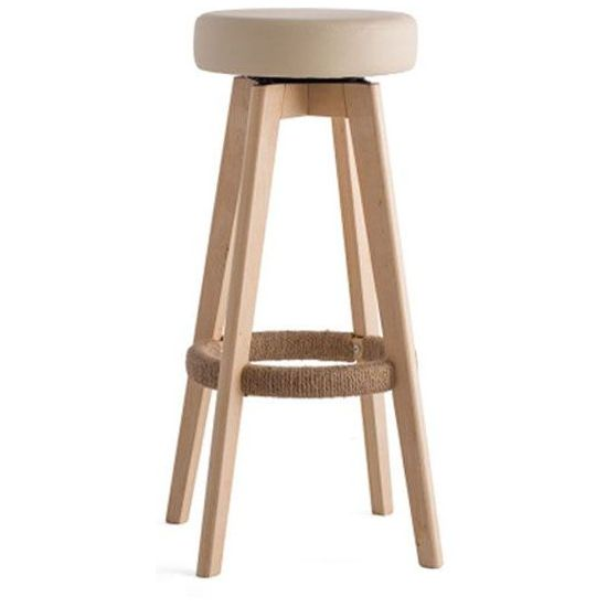 2x circle pu leather swivel bar stool natural 65cm buy sets