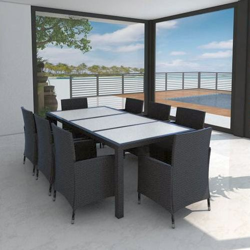 Harrison Outdoor Wicker 8 Seat Dining Set in Black