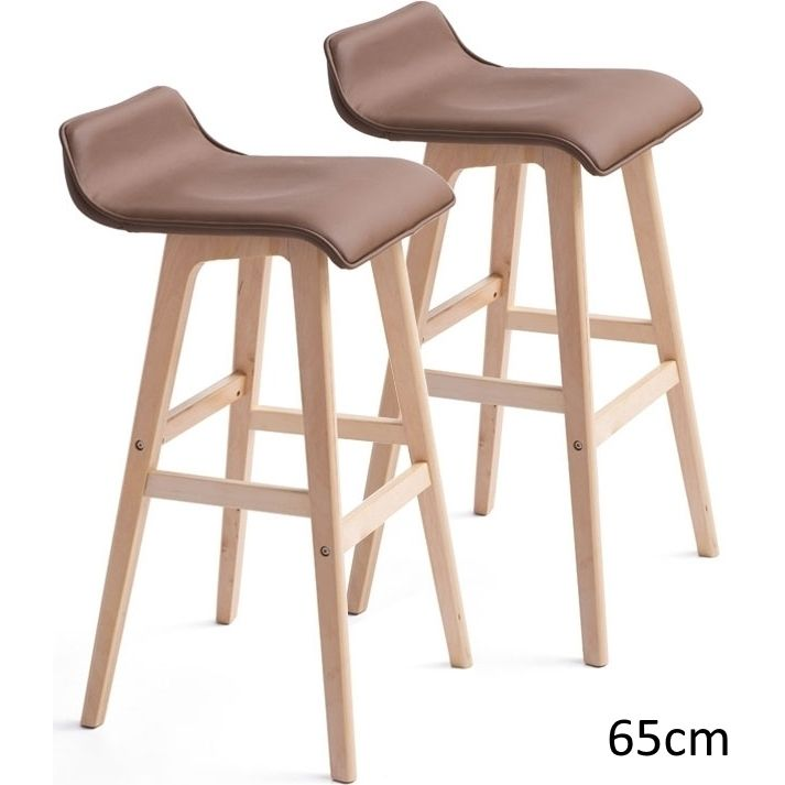 2x S Curve Pu Leather Wooden Bar Stool Natural 65cm Buy