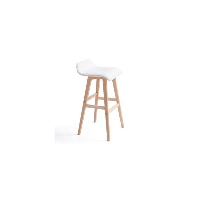 2x S-Curve PU Leather Wood Bar Stool in White 65cm