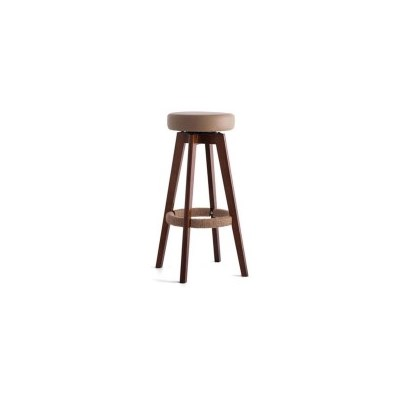 2x Circle PU Leather Swivel Bar Stool Brown 65cm