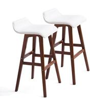 2x S-Curve PU Leather & Wood Bar Stools White 65cm