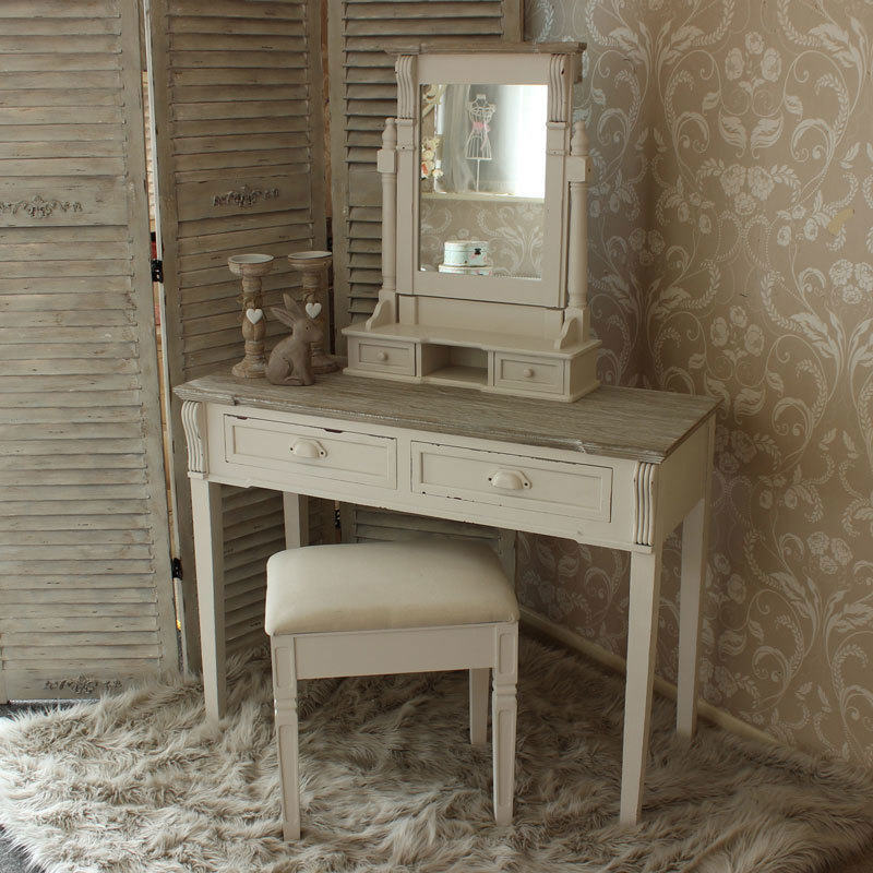 Isabelle Dressing Table Mirror & Stool Set in Cream | Buy Dressing ...