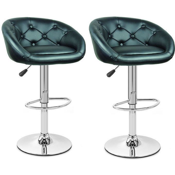2pc Pod Pu Leather Gas Lift Bar Stools In Black Buy Sets