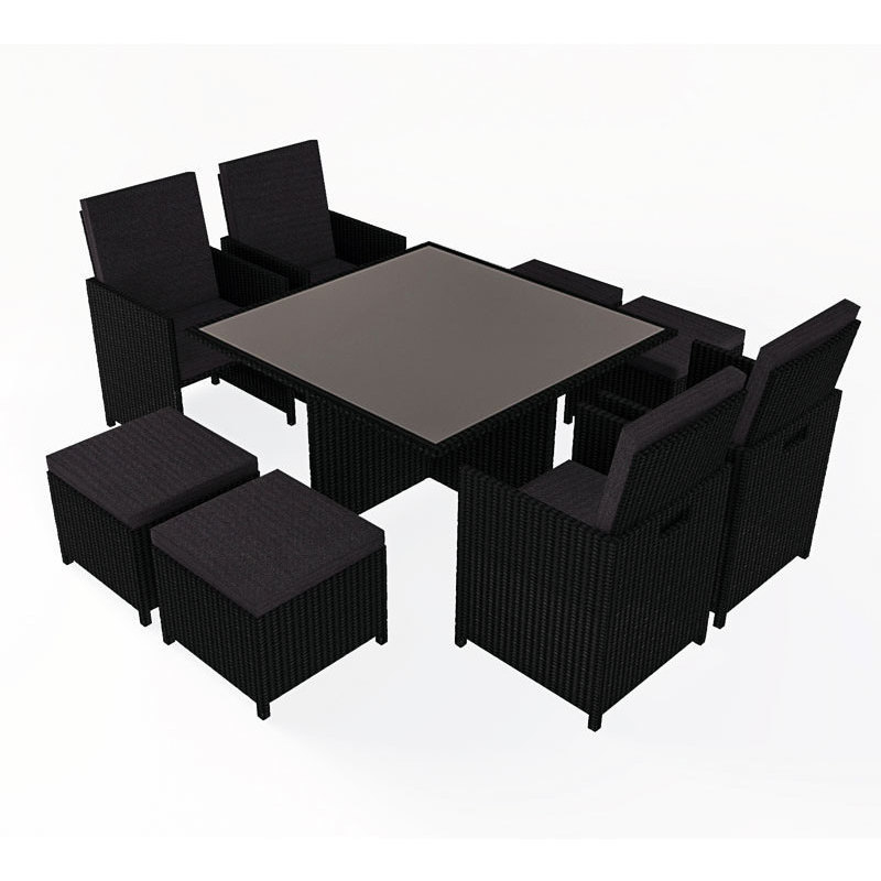 9pc wicker outdoor dining furniture setting black buy 8 seat