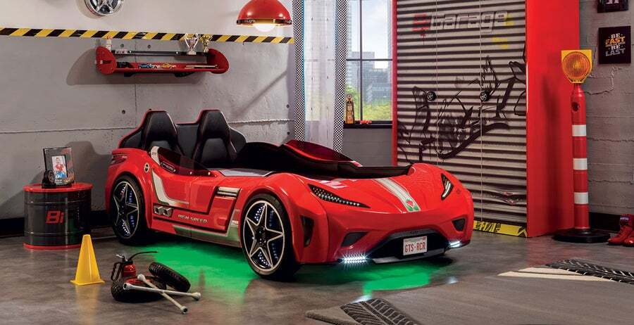 Cilek Kids Gts Race Car Bed With Led Lights Royal Red Buy Car