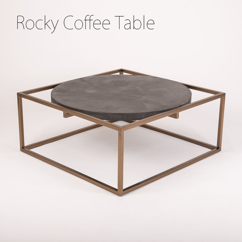 Buy Gold Coffee Table: Rocky Solid Concrete Steel Coffee Table Rose Gold