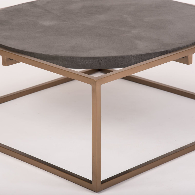 Solid Stainless Steel Coffee Table: Rocky Solid Concrete Steel Coffee Table Rose Gold