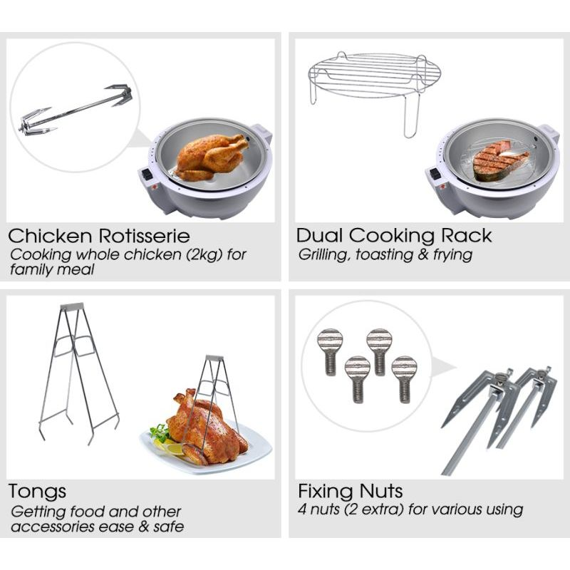 Rotisserie Dry Air Fryer W 7 Accessories 13l 1300w Buy