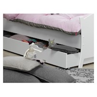 Paco Kids Single Trundle Bed Drawer in Satin White