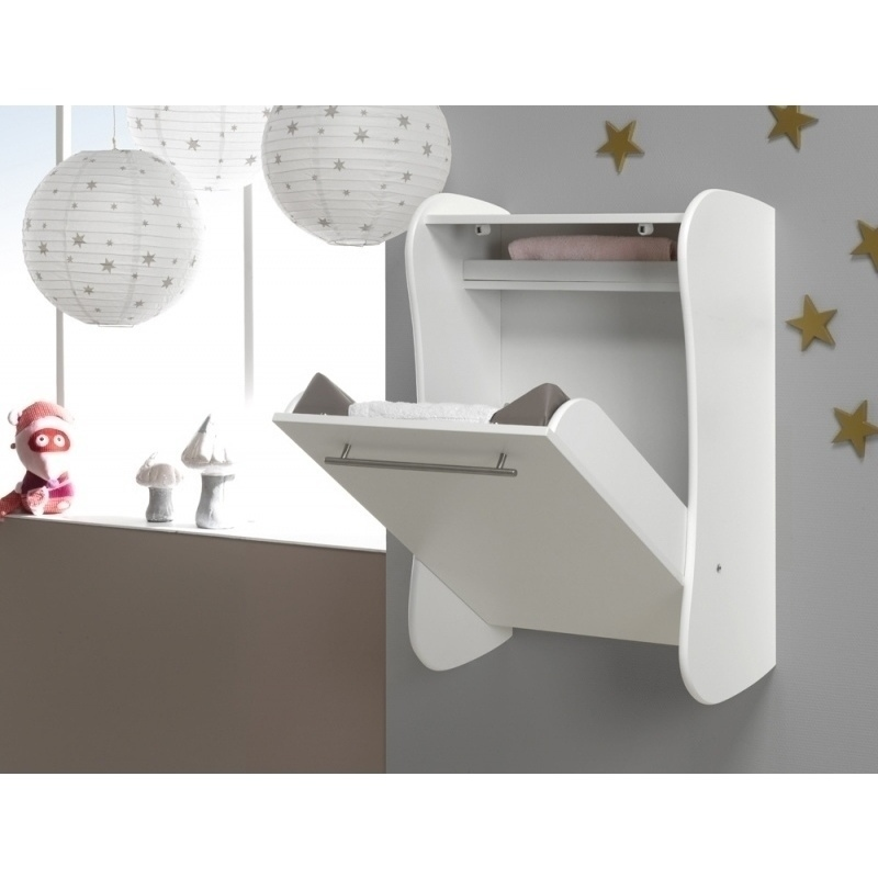 Wall mounted baby changing table drop down white buy for Table console rabattable