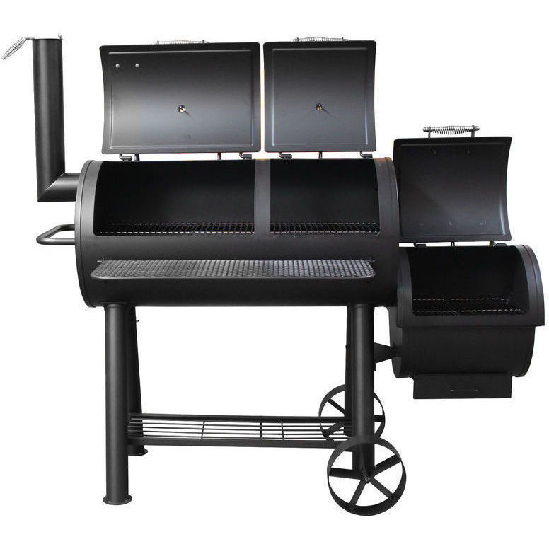 Flaming Coals Wood Charcoal Texas Offset Smoker Bbq Buy