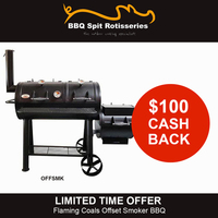 Flaming Coals Wood Charcoal Texas Offset Smoker BBQ