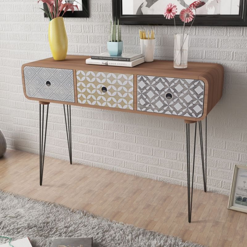 Mdf wood console table w 3 storage drawers brown buy for Table 85 cm de large
