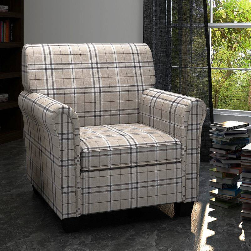 Plaid Style Polyester Fabric Sofa Armchair in Cream | Buy ...