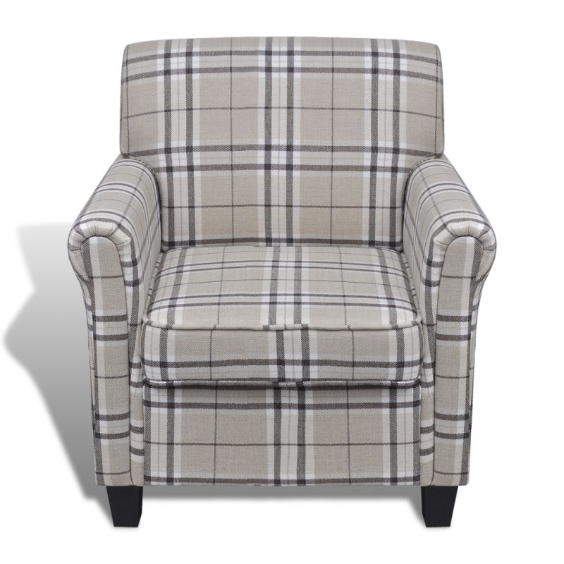 Plaid Style Polyester Fabric Sofa Armchair In Cream Buy