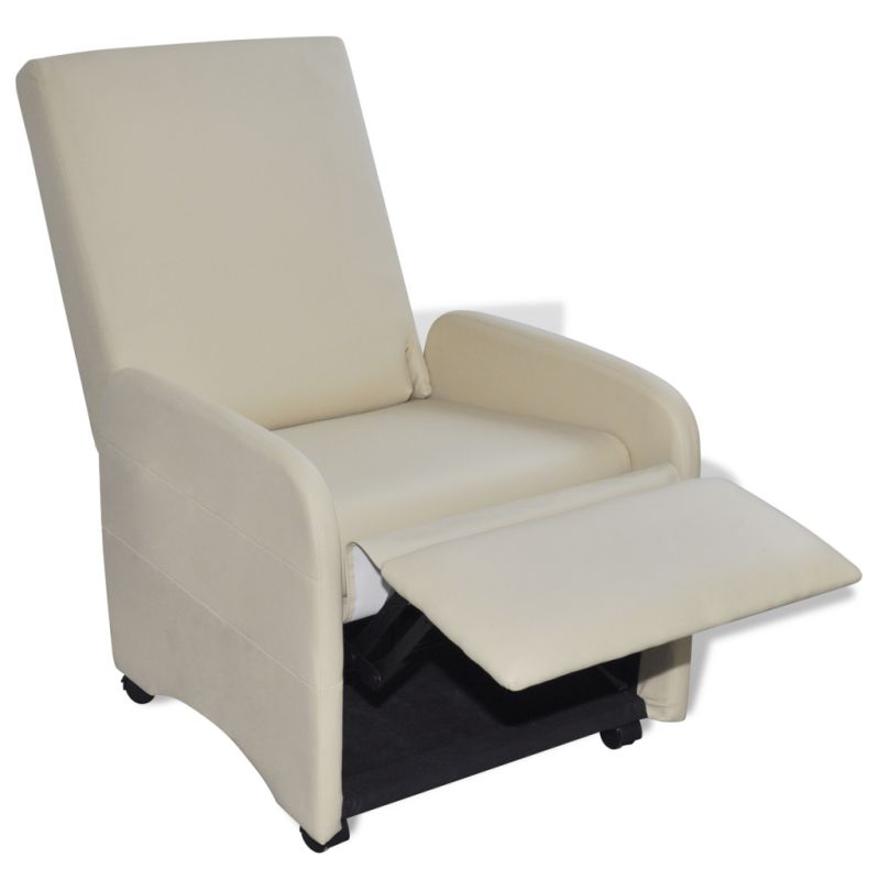 Faux Leather & Wood Folding Recliner Armchair Cream | Buy ...