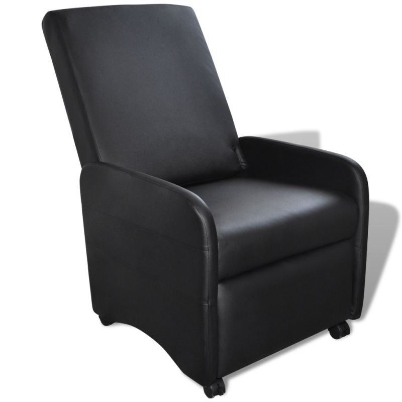 Foldable Faux Leather Recliner Armchair In Black Buy