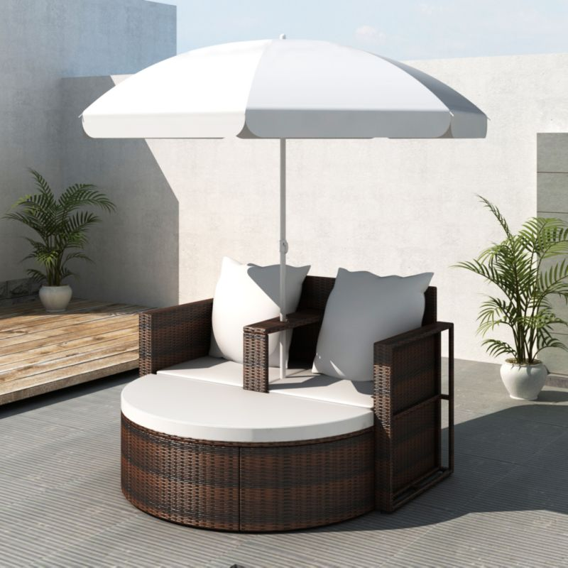 wicker outdoor day bed lounge set w parasol brown buy. Black Bedroom Furniture Sets. Home Design Ideas
