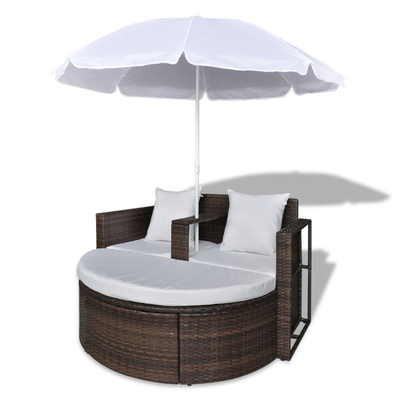 Wicker outdoor day bed lounge set w parasol brown buy for Sofa exterior jardim