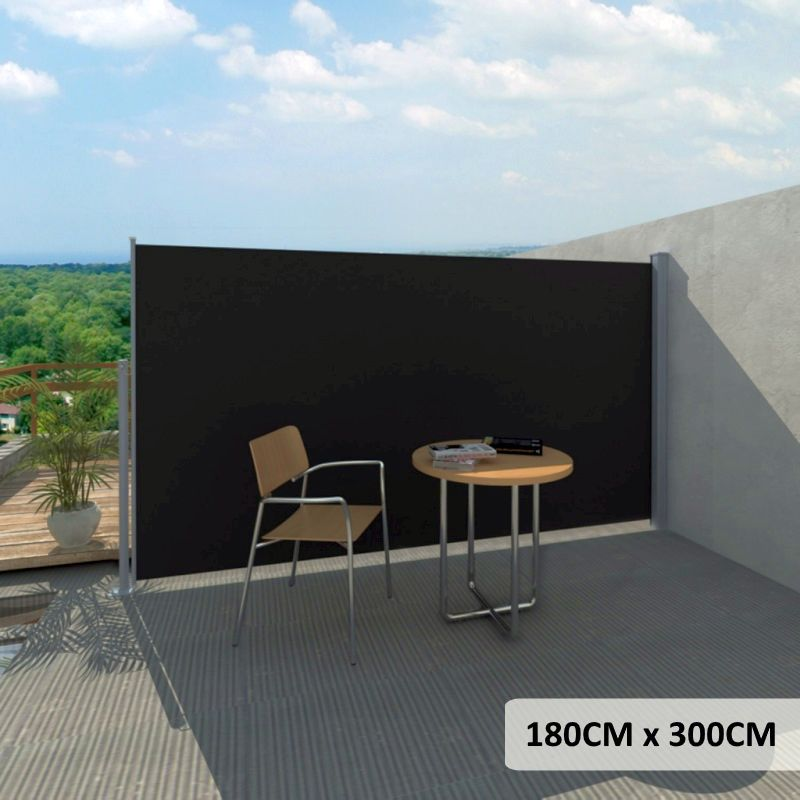 Outdoor Retractable Side Awning In Black 180x300cm Buy Side Awnings