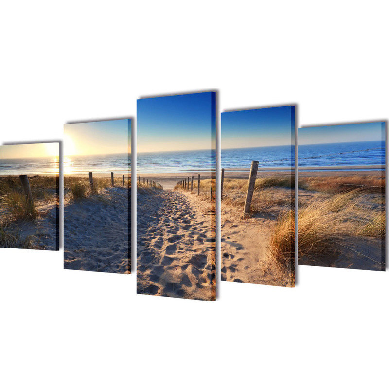 5 panel sand beach canvas print visual wall art buy for Canvas prints to buy