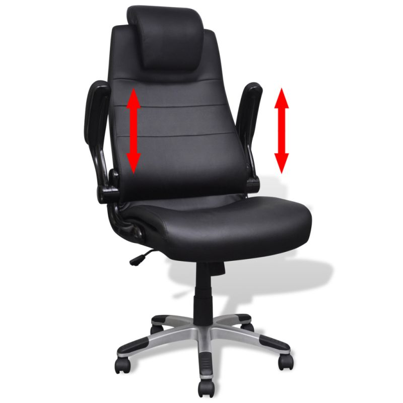 Adjustable Swivel Office Chair In Black PVC Leather