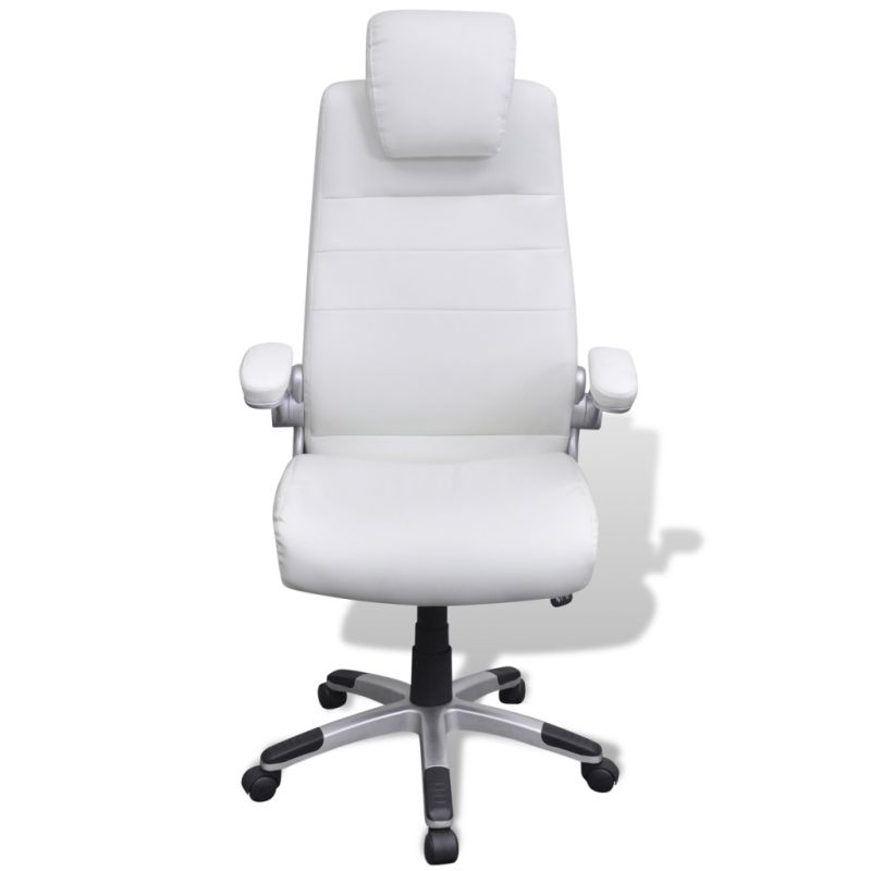 Adjustable Swivel Office Chair In White Pvc Leather Buy