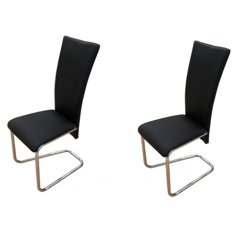 2x Faux Leather Dining Chairs w Chrome Legs Black Buy  : 24002001 from www.mydeal.com.au size 800 x 800 jpeg 24kB