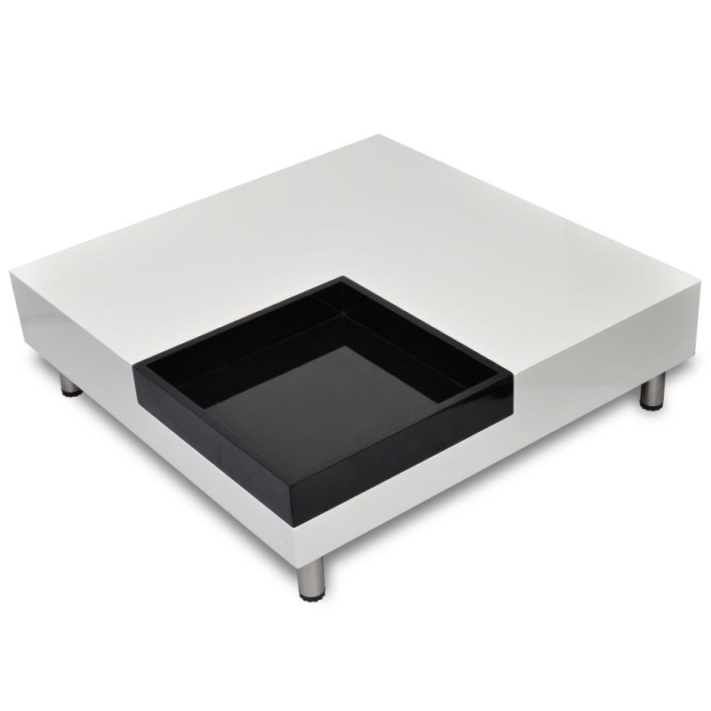 White Coffee Table Tray: Square Coffee Table In White W Removable Black Tray
