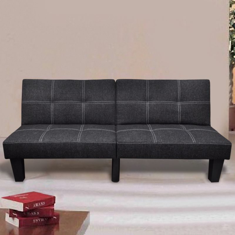 adjustable 2 seater fabric sofa bed lounge in black buy. Black Bedroom Furniture Sets. Home Design Ideas