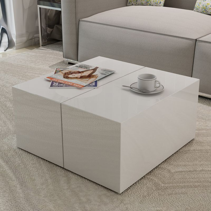 High Gloss White Coffee Table W Storage Compartment Buy Coffee Tables