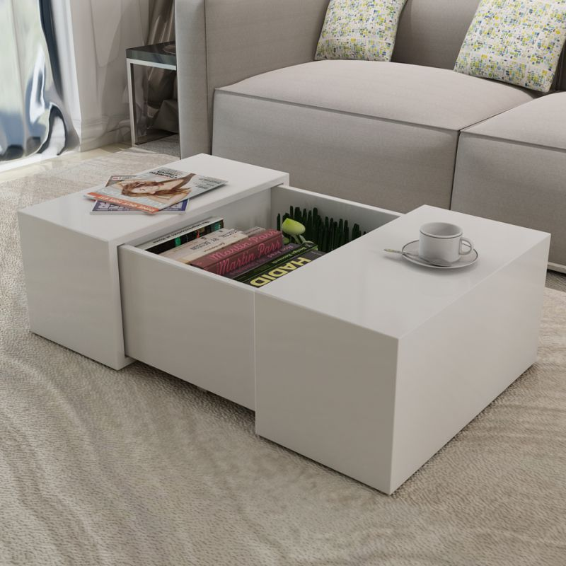 Modern White High Gloss Square Coffee Table With Storage: High Gloss White Coffee Table W Storage Compartment
