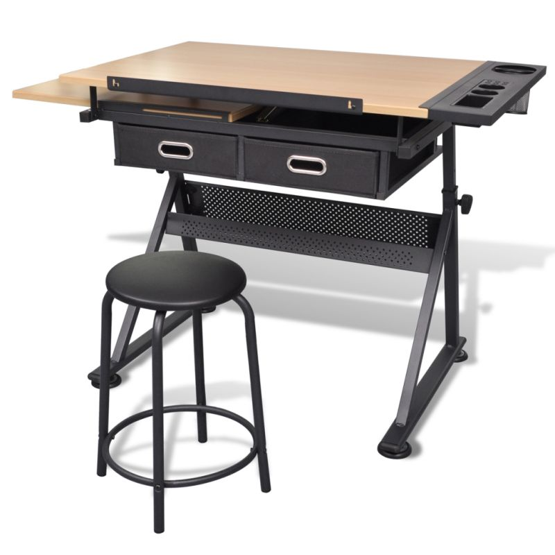 Tilt art drawing drafting table w 2 drawers stool buy - Table a dessin architecte ...
