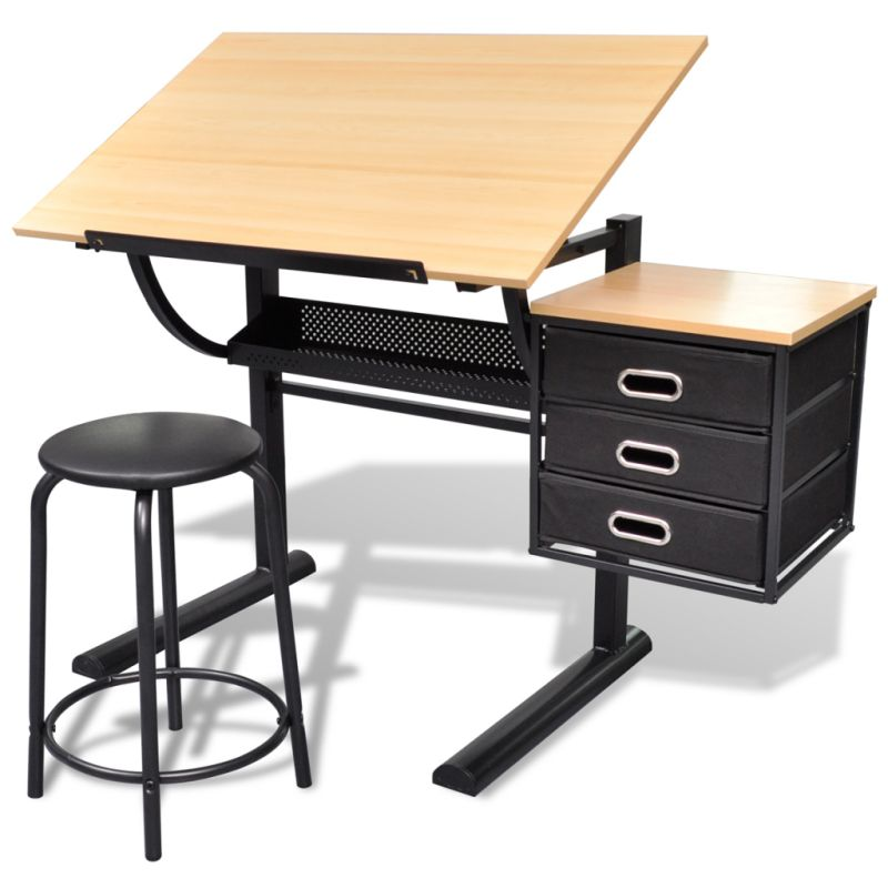 Tilt Art Drawing Drafting Table W 3 Drawers Amp Stool Buy