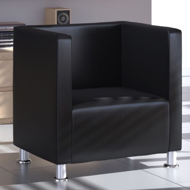 Square Tub Faux Leather Lounge Armchair in Black | Buy ...