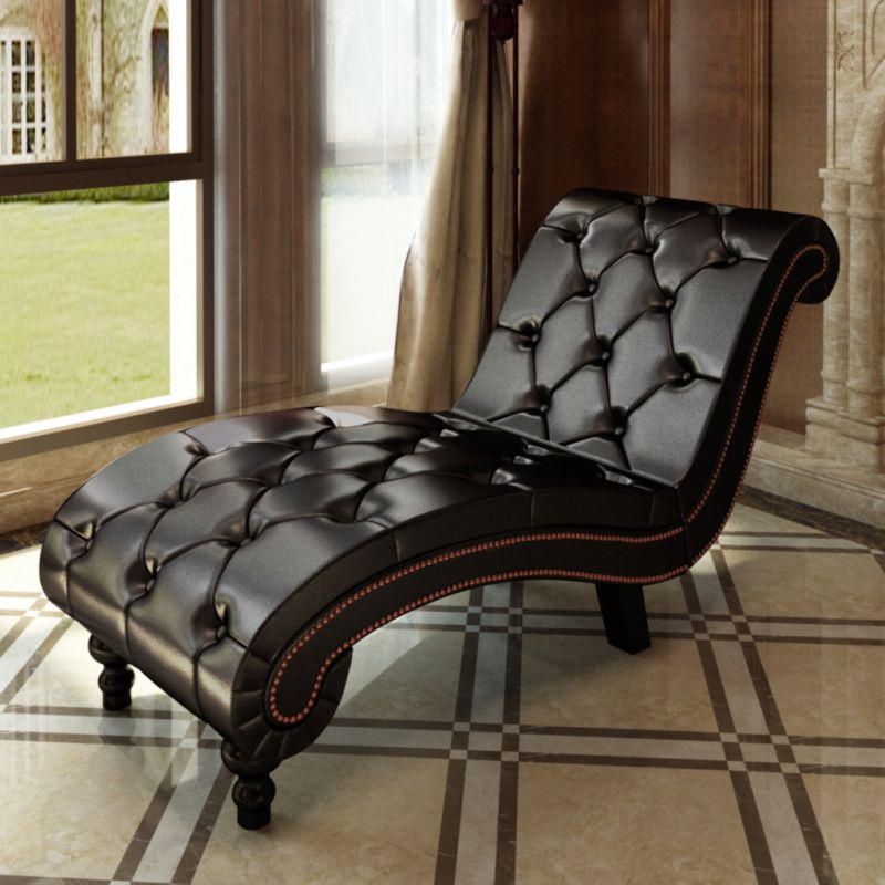 Pu Leather Chesterfield Scroll Chaise Lounge Brown Buy