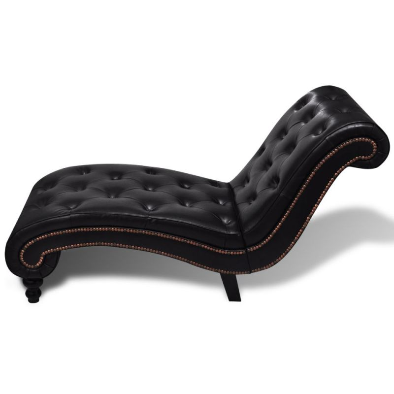 pu leather chesterfield scroll chaise lounge brown buy chaise lounge. Black Bedroom Furniture Sets. Home Design Ideas