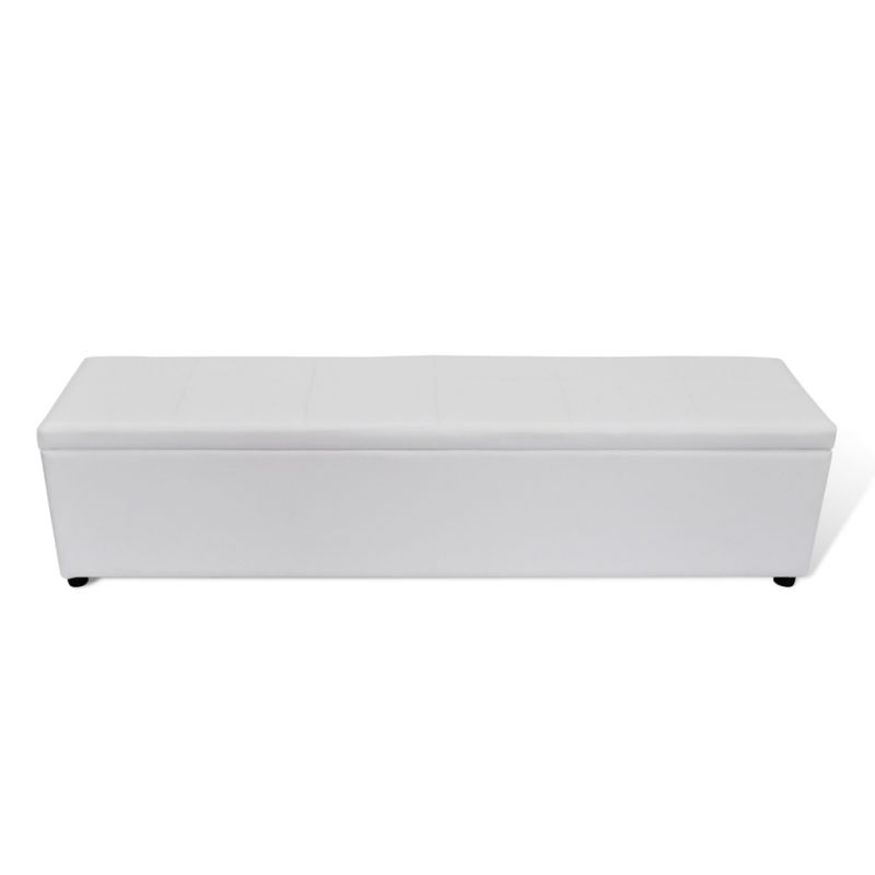 faux leather storage ottoman bench in white 178cm buy ottomans. Black Bedroom Furniture Sets. Home Design Ideas