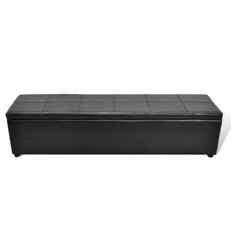 Faux Leather Storage Ottoman Bench In Black 178cm Buy