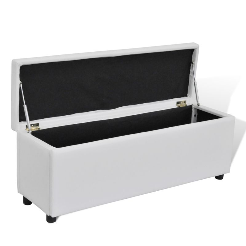 Faux Leather Storage Ottoman Bench In White 118cm Buy Leather Ottomans