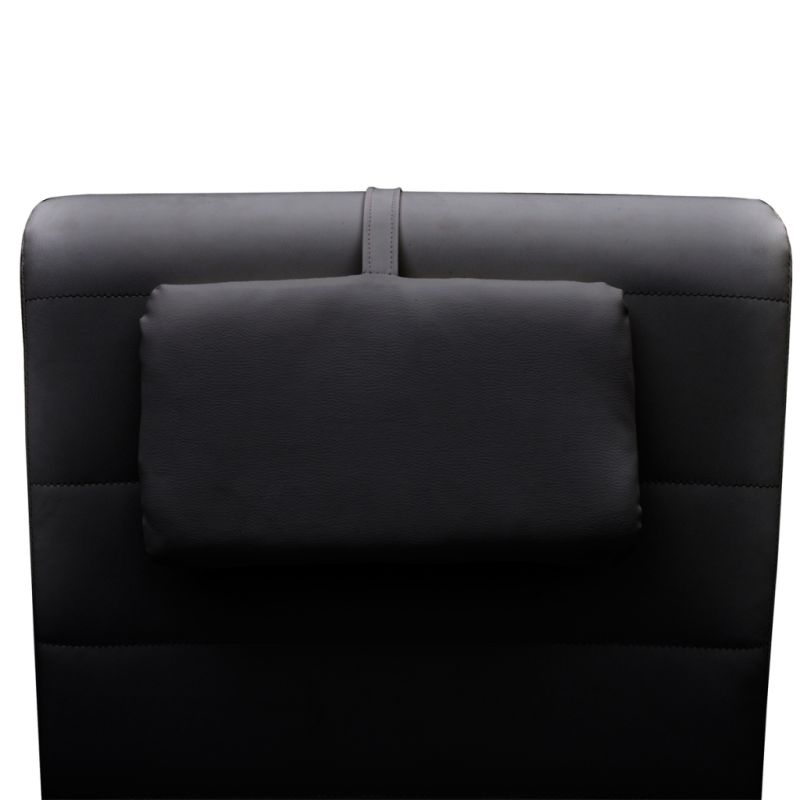 Faux leather bed chaise lounge w head cushion black buy for Black and white chaise lounge cushions