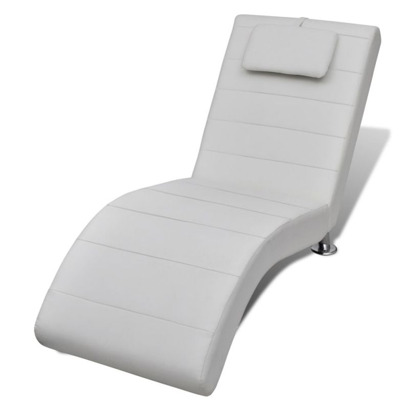 Faux leather bed chaise lounge w head cushion white buy for Buy chaise lounge cushion